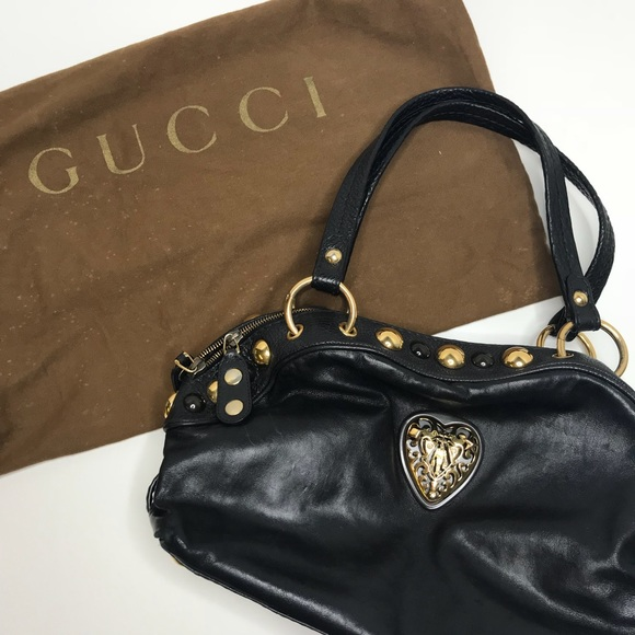 26a193e476d AUTH GUCCI Black Leather Babouska Studded Satchel